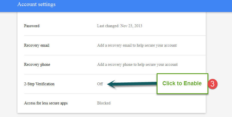 gmail two step verification 2